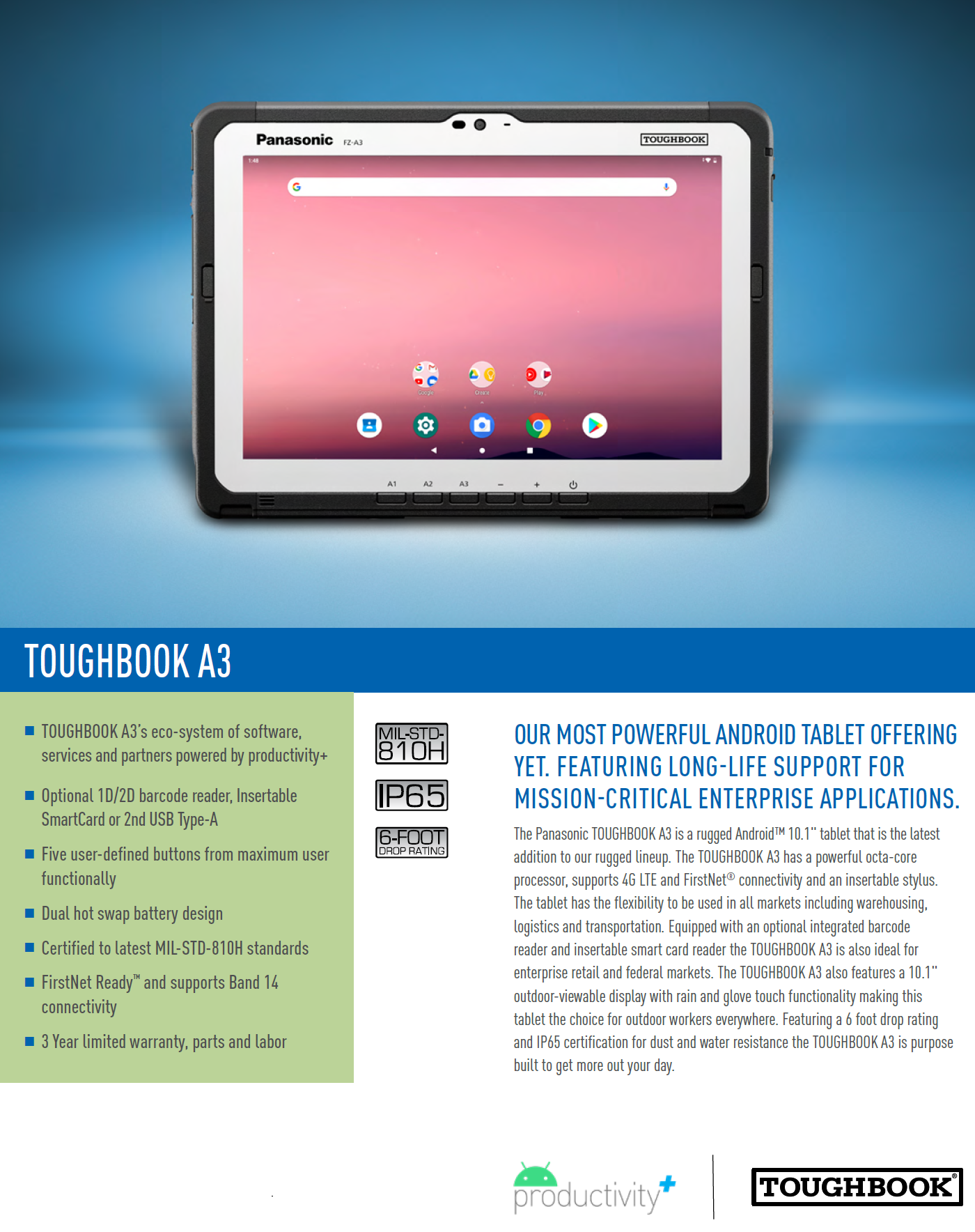 "Panasonic TOUGHBOOK A3 Android™ 9 (Pie) 10.1"" rugged tablet"