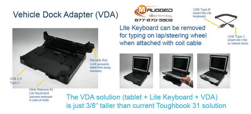 Toughbook 31 to 33 Vehicle Dock Adapter (VDA)